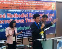 Bishop Pedro Torio  Jr. of the Baguio Area, Philippines, leads worship during the United Methodist ecumenical training session held May 28-30 at Wesley Divinity School of Wesleyan University-Philippines. Photos courtesy of S. J. Earl P. Canlas.