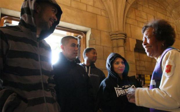 Bishop Beverly Shamana (right) greets supporters of slain teen Trayvon Martin at First United Methodist Church in Pasadena on March 25, 2012. A web-only 2012 file photo by Ron Fu, courtesy of The Pasadena Star-News.