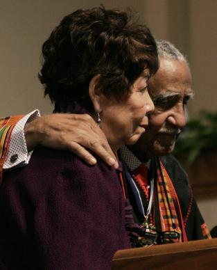 Evelyn and Joseph Lowery are honored for their years of dedication to civil rights at Cascade United Methodist Church, Atlanta, in 2011. A UMNS photo by Kathy L. Gilbert.