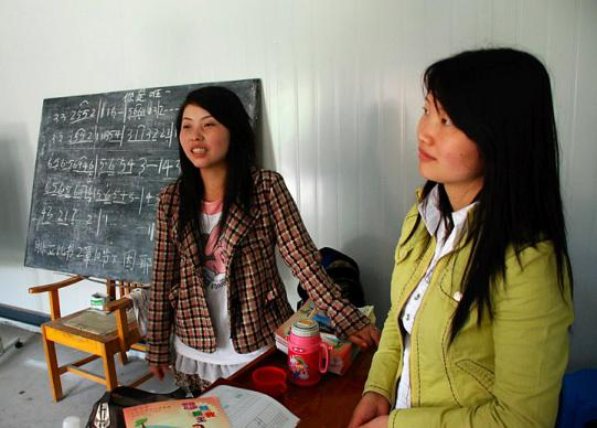 Sunday school teachers hold classes in a new temporary building that is now home to the historical Mianzhu Protestant Church in Mianzhu, China. A UMNS Web-only photo courtesy of Amity Foundation.