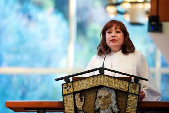 United Methodist Bishop Minerva Carcaño addresses the Western Jurisdictional Conference of the United Methodist Church during its July 2012 meeting in San Diego. A UMNS file photo courtesy of the Pacific Northwest Conference Communications Team.
