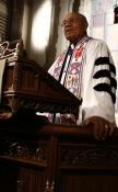 Retired Bishop Melvin G. Talbert preaches from the pulpit of Metropolitan Memorial United Methodist Church in Washington, D.C. for Reconciling Ministries Network's Celebration of Biblical Obedience. A RMN 2012 file photo by Sam Piczuk.