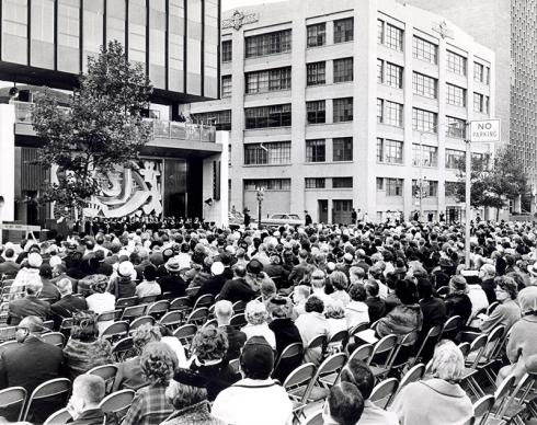 About 2,000 people were present, including U.N. dignitaries, when the United Methodist-owned Church Center for the United Nations was consecrated on Sept. 23, 1963. A UMNS photo courtesy of the United Methodist Office for the U.N.