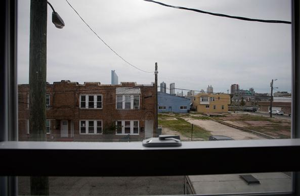 A newly installed window frames a view of Atlantic City, N.J., at a home being repaired by United Methodist volunteers following Hurricane Sandy.