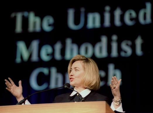 First Lady Hillary Rodham Clinton speaks to the 1996 General Conference April 24, 1996 at the Colorado Convention Center. A UMNS file photo by Mike DuBose.