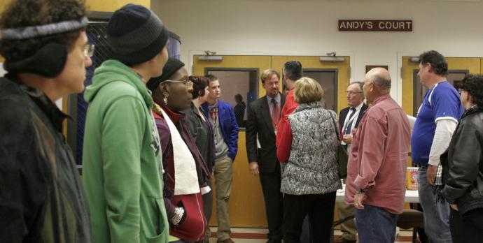 The Rev. Frank Schaefer greets supporters after receiving a guilty verdict Nov. 18. A UMNS photo by Kathy L. Gilbert.