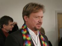 Rev. Frank Schaefer responds to reporter's questions in a news conference after his two-day church trial. A UMNS photo by Kathy L. Gilbert.