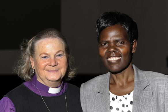 United Methodist Bishop Mary Ann Swenson, left, and Agnes Abuom, Anglican Church of Kenya, have been elected the vice moderator and moderator of the World Council of Churches Central Committee. Photo by Peter Williams/WCC.