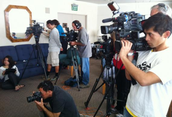 Local media gathered for a Nov. 10 conference at Grace United Methodist Church in Long Beach, Calif. The church, whose ministries includes the Filipino Migrant Center, is working with the National Alliance for Filipino Concerns in southern California to raise funds for typhoon relief.