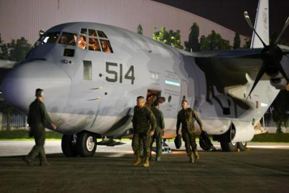 U.S. Marines arrive in the Philippines as part of promised U.S. military assistance for relief efforts after Super Typhoon Haiyan. Nongovernmental relief agencies also are mobilizing to respond to the disaster. A web-only photo courtesy of the U.S. Marine Corps.