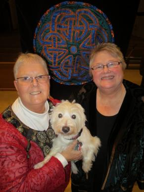 The Rev. Joanne Carlson Brown (left), Thistle the Wonder Westie and the Rev. Christie Lagergren Brown. Photo courtesy of the Browns.