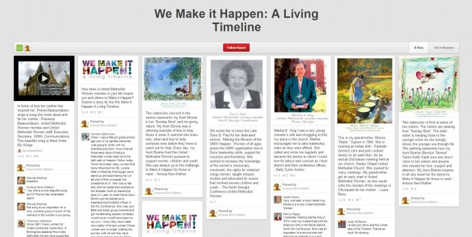 "United Methodist Women is creating a ""living timeline"" on PInterest for the UMW assembly."