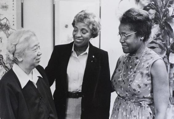 In recognition of her mentoring prowess, the Women's Division created the annual Theressa Hoover Community Service and Global Citizenship award. In this 1979 photo, Hoover (right) and Mai Gray (center), president of the Women's Division, greeted Xue Zheng, an educator from China. Photo by John Goodwin for the Board of Global Ministries.