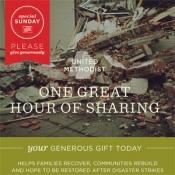 One Great Hour of Sharing is a Special Sunday of The United Methodist Church. Graphic courtesy of UMC Giving.