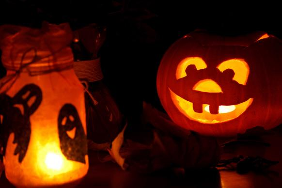 halloween pumpkin and lights photo by petr kratochvil publicdomainpicturesnet