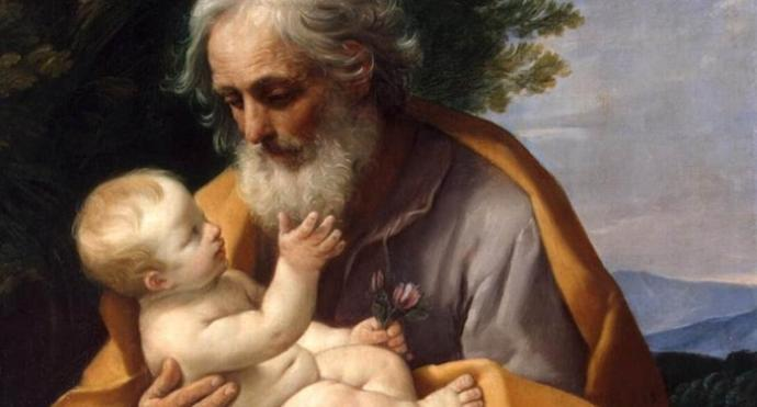 Painting by Guido Reni, c. 1635, depicts Joseph with infant Jesus. Courtesy Wikimedia Commons.