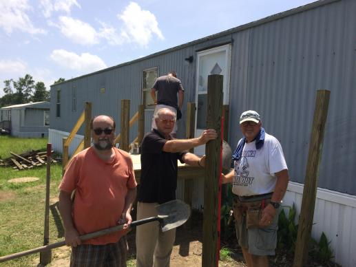 Members of Coharie United Methodist Church in Clinton, N.C., helped build a wheelchair ramp for a family in need. Photo courtesy the Rev. Roy Hilburn.