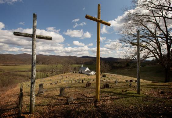 Three crosses stand above the cemetery at Israel United Methodist Church near Montrose, W.Va. Photo by Mike DuBose, United Methodist Communications.