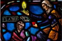 Florence Nightingale is depicted in stained glass windows at the United Methodist Upper Room.