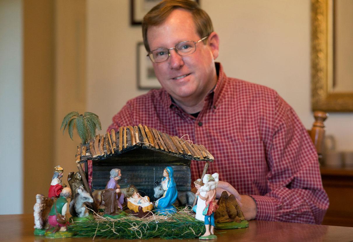 Gilbert Lovell and his nativity scene.