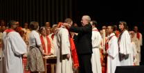 The Rev. Jon Van Dop received an elder stole from a mentor during an ordination service. Photo courtesy of the Rev. Jon Van Dop.