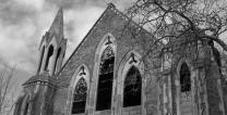 An abandoned church serves as a reminder of the damage that can be done by clergy misconduct. Derivative of