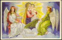A vintage post card from the 1900s features angels with Mary and the baby Jesus and wishes the receiver a Merry Christmas in Slovak. Photo courtesy of Don Harrison, Flickr Creative Commons