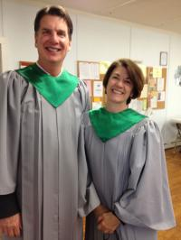 Amy Dickinson and a friend in a choir robes.