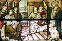 Stained glass window from St. Paul's, Jericho in Oxford, depicts the preaching of the Apostles. Photo by Fr. Lawrence Lew, O.P., courtesy of Flickr.