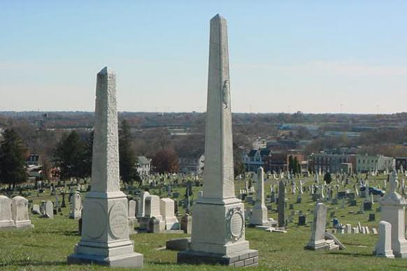 Francis Asbury is buried near Bishop's Monument (right). Photo courtesy of John Strawbridge.