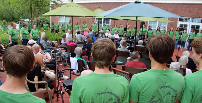 The Sonshine Choir, a youth choir from Brentwood United Methodist Church, performs at an area nursing home during their recent choir tour. Photo courtesy of Brentwood United Methodist Church.