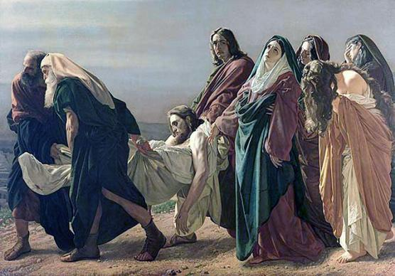 Jesus is taken from the cross and transported to the tomb after his crucifixion. Photo by Antonio Ciseri, courtesy Wikimedia Commons.