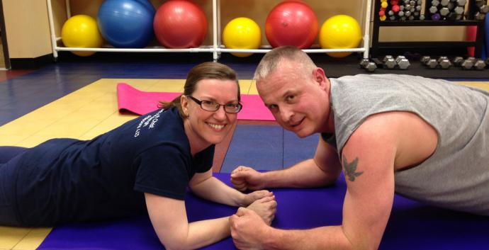 Lisa Furney and Dave Inskeep, members of First United Methodist Church of Ankeny, Iowa, say working out together motivates them. Photo courtesy of Lori Staples.