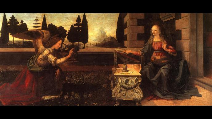 The archangel Gabriel kneels, raising his right hand in greeting to Mary and indicating her divine pregnancy. Painting of The Annunciation by Leonardo da Vinci, circa 1472.  Painting by Leonardo da Vinci (public domain), courtesy Wikimedia Commons