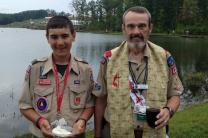 Ken Steppe and a scout are prepared to serve communion. Photo courtesy of Ken Steppe.