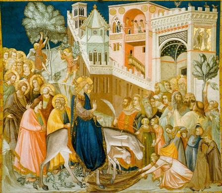 "Jesus rides into the city of Jerusalem in fresco, ""Entry into Jerusalem,"" located in Lower Basilica of Church of San Francesco in Assisi, Italy. By Pietro lorenzetti, public domain, courtesy of Wikimedia Commons."