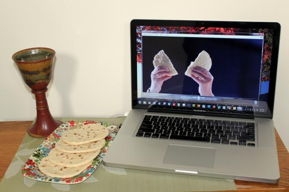 Photo illustration of online communion by Cindy Caldwell, United Methodist Communications.