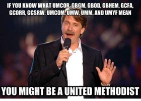 United Methodists can find jokes on Facebook by UM Memes.