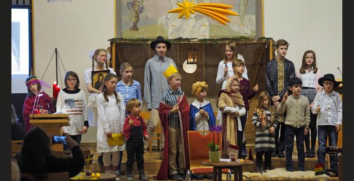 Children at UMC Peace Church in Munich, Germany, perform a Nativity play. Photo by Gunnar Striewski, Communications UMC Germany