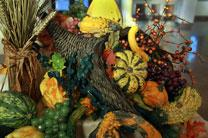 A cornucopia, this one decorated with gourds, wheat, berries and corn, makes a Thanksgiving still life. Photo by Kathleen Barry, United Methodist Communications.
