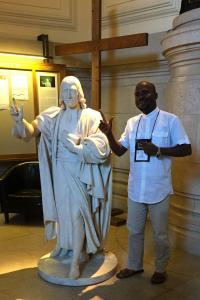 The statue of John Wesley in the lobby of Methodist Central Hall is a wonderful place for a photo.