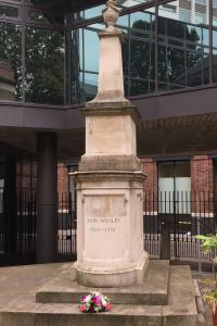 The tomb of John Wesley is on the campus of Wesley's Chapel, City Road, London.