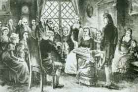 A depiction of Susanna Wesley's meetings at the Old Rectory.