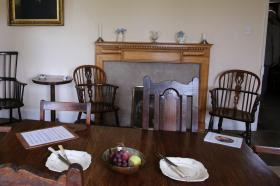 Mealtime was family time for the Wesleys in this dining room.