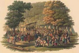 Artist rendering of a Methodist camp meeting.