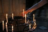 Candles are lit at the Church of St. Mary the Virgin in Oxford, England.