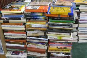 Piles of Christian books.