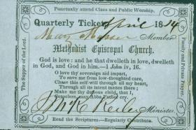 A class meeting ticket from 1814.
