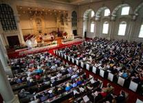 Worshippers at Easter fill Grace Memorial United Methodist Church in Atlanta. Photo by Joseph McBrayer.