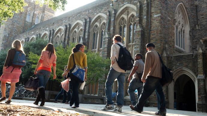 Students walk on the campus of Duke University. Photo by Les Todd, Duke University.